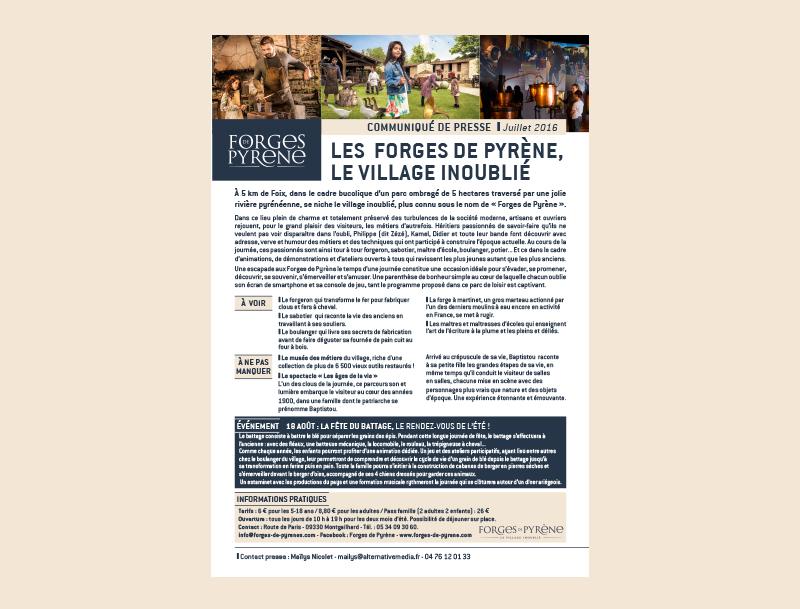 Communiqué de presse - Unforgettable village Forges de Pyrène